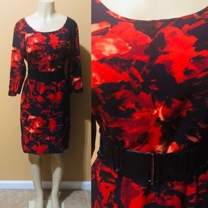 Red & Black Abstract Dress